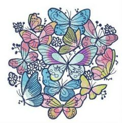 Flock of colorful butterflies embroidery design