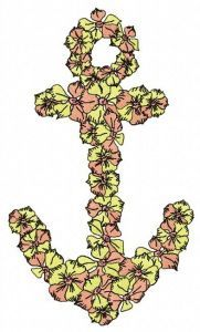 Floral anchor 2 embroidery design