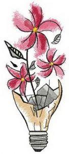 Flower in light bulb embroidery design