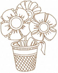 Redwork flowers pot embroidery design