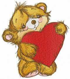Fluffy bear with heart pillow embroidery design