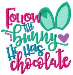Follow the bunny. He has chocolate embroidery design