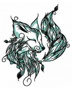 Forest fox spirit embroidery design