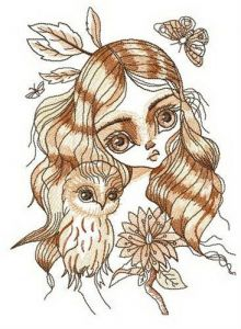 Forest kid embroidery design