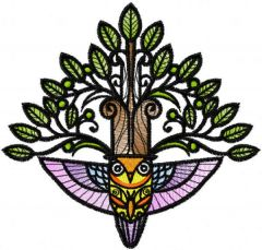 Forest stylish owl embroidery design