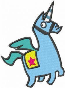 Fontnite llama unicorn embroidery design