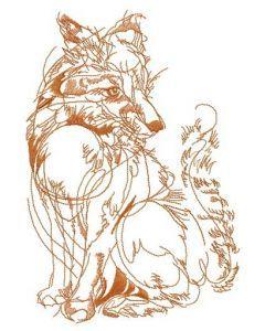 Fox in my dream sketch embroidery design