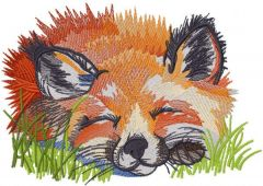 Fox sleeping in the grass embroidery design