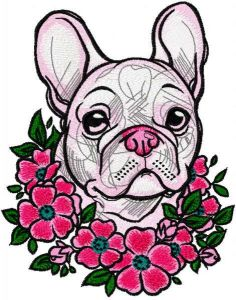French Bulldog in a wreath flowers embroidery design