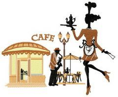 French summer cafe embroidery design