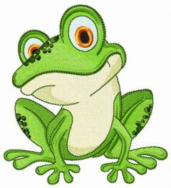 Friendly frog embroidery design