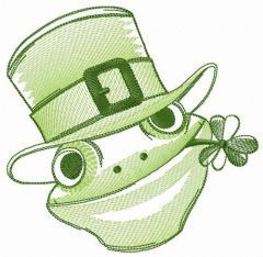 Friendly green frog embroidery design
