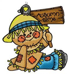 Friendly scarecrow embroidery design
