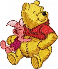Winnie Pooh and Piglet embroidery design