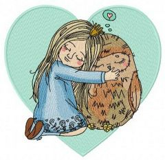 Friendship with owl embroidery design