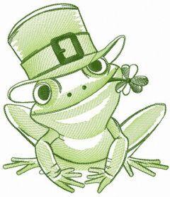 Frog celebrates St. Patrick's Day embroidery design