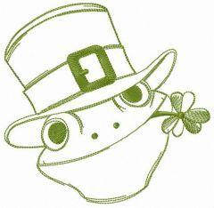 Frog gentleman embroidery design