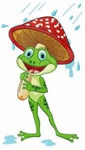 Frog under amanita umbrella embroidery design