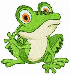 Frog waving paw embroidery design
