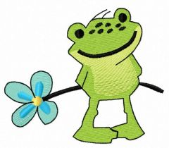 Froglet with forget-me-not flower embroidery design