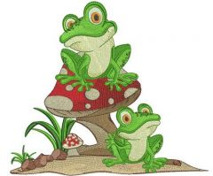 Frog's party embroidery design