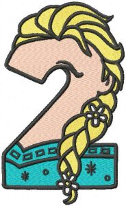 Frozen number 2 embroidery design