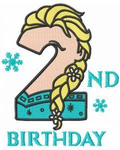 Frozen second birthday embroidery design
