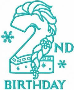 Frozen second birthday one colored embroidery design