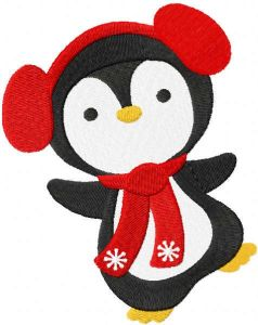 Funny Christmas penguin embroidery design