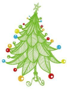 Funny Christmas tree embroidery design