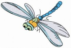Funny dragonfly embroidery design