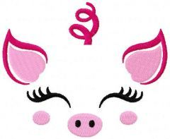 Funny pig muzzle free embroidery design
