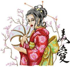 Geisha with Hairpin 2 embroidery design