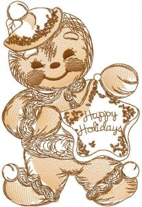 Gingerbread Christmas sketch embroidery design