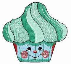 Gingerbread cupcake embroidery design 2