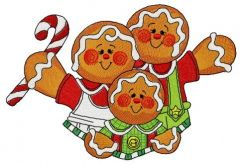 Gingerbread family 2 embroidery design