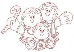 Gingerbread family embroidery design 4