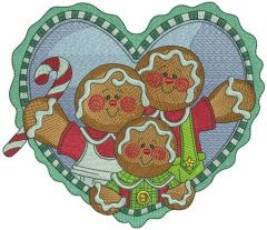 Gingerbread family embroidery design