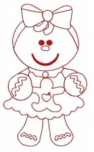 Gingerbread girl embroidery design 3