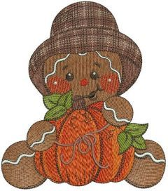 Gingerbread man with pumpkin embroidery design