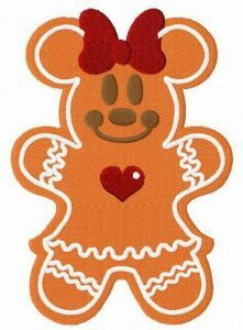 Gingerbread Minnie Mouse embroidery design