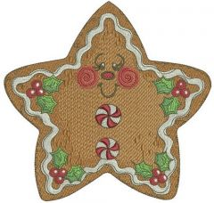 Gingerbread star embroidery design