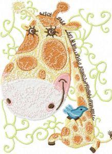 Giraffe with Small Bird embroidery design