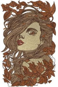 Girl and autumn fall embroidery design