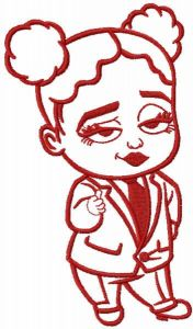 Girl baby boss one colored embroidery design