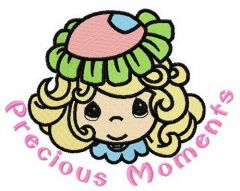Girl in flower hat embroidery design