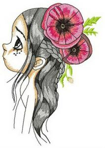 Girl with poppies embroidery design