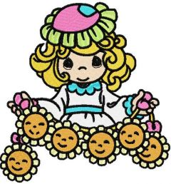 Girl with sunflowers embroidery design