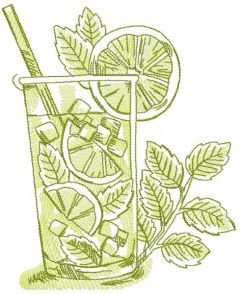 Glass cocktail margarita sketch embroidery design