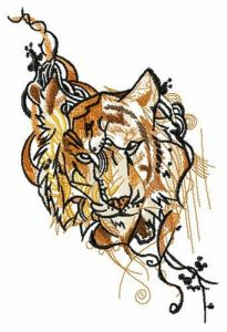 Gloomy tiger embroidery design